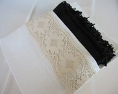 Custom set of Bridesmaid gifts clutch with-pashmina -shawl scarf/bag rustic country themed wedding gifts ideas-linen and lace-favor bag