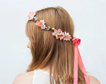 Coral and Pink Flower Crown - Flower Girl Crown, Headpiece, Floral Crown, Pink, Flower Crown, Bridal Headpiece, Circlet, Flower Hair Wreath