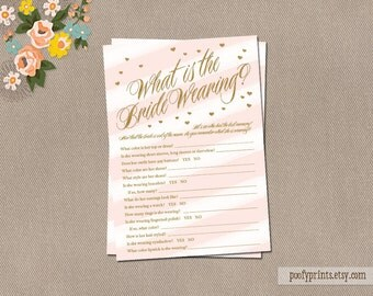 What the Bride Wore Game - Pink White Stripes Gold Glitter Shower Game - INSTANT DOWNLOAD - Sienna Collection
