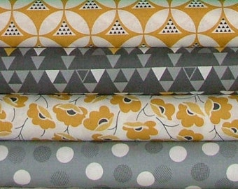 Half Yard Bundle of 4 from the Color Theory Collection in Gray & Gold by V and Co for Moda
