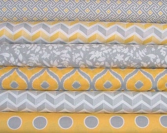 Mixologie in Yellow and Gray Fat Quarter Bundle of 6 by Studio M for Moda