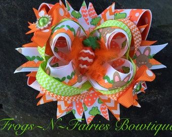 Easter Bunnies & Carrots Boutique Resin Hairbow