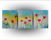 Red Poppies Triptych Flower Painting- 20 x 48 - Skye Taylor