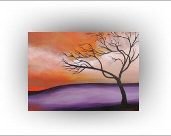"Skye Taylor Tree Art Painting Modern Landscape Original painting, ""Forgotten"", 30 x 12...Ready to hang"
