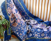 Art Quilt  Geometric  Blue and Lavender   Throw or Wall Hanging Quilts for Sale
