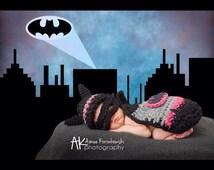 Crochet newborn batgirl, pink batman cape, photo prop, baby prop baby shower gift, comic hero,
