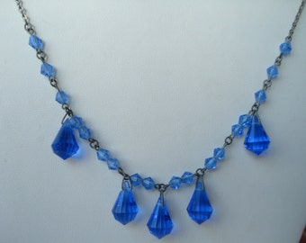 Art Deco Czech Necklace Blue Beads 1920's 1930's