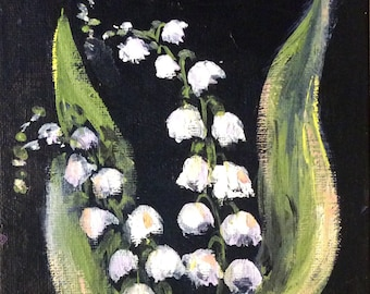 Lily of the Valley painting still life original floral painting 5 x 7