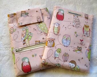 iPad Mini case, iPad Mini cover, iPad Min sleeve with zippered storage pocket - Owls  pale pink