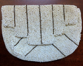 Antique 1920s Hand-Beaded Deco Purse with Bold Geometric Design