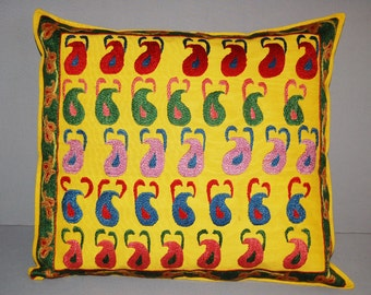 SALE Beautiful silk handmade sahrisyabs   flowers pattern with peppers embroidered pillowslip