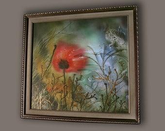Mixed media, poppy, fantasy art, giclee print on canvas, Easter, Eden, relax art, meditation, Elysium, silk painting, red flower, psychology