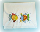 Fish themed pillowcase hand embroidered