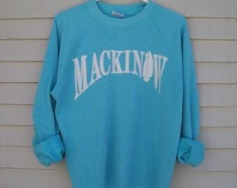 Soft Turquoise Blue Mackinaw Sailboat Sweatshirt