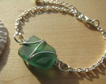 Mermaid Green Sea Glass Bracelet Beach Glass Jewelry