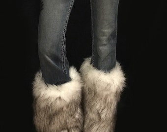 Faux Fur Leg Warmers Boot Covers In Alaskan Husky Style: FG104
