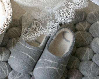 Hand felted slippers grey stones with white lines, handmade wool slippers