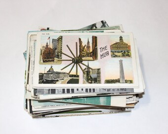 SALE - 119 Vintage Boston Massachusetts Postcards - DAMAGED
