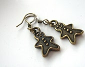 Gingerbread man earrings, stocking stuffer jewelry for adults or kids, christmas gift