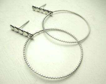 sterling silver delicate hoop earrings - post hoop earrings - large silver hoop earrings - statement earrings