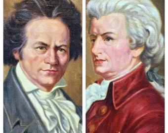 Pair of Vintage Eugene Califano Paintings Beethoven and Mozart