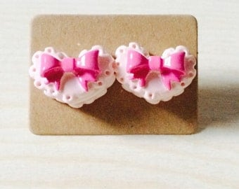Adorable pink heart cake earrings