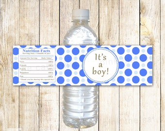 Baby Shower Water Bottle Label - Its A Boy Blue Polka Dots Baby Boy Shower Favors Party Favors INSTANT DOWNLOAD