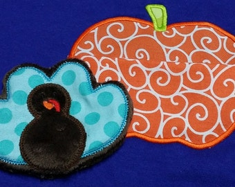 In the Hoop Turkey in a Pumpkin Applique Design