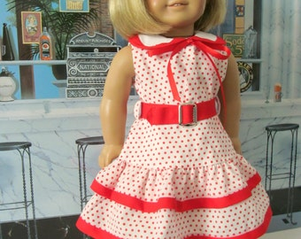 Historical Dress,  Skooter  Dress, Ruffled Dress, 18 inch Doll Clothes