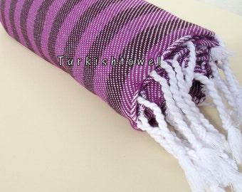 Turkishtowel-NEW Colors, Soft-High Quality,Hand Woven,Cotton Bath,Beach,Pool,Spa,Yoga,Travel Towel or Sarong-Purple,Deep Burgundy Stripes