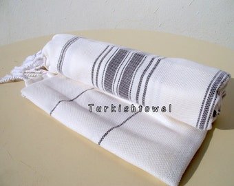 Turkishtowel-NEW Stripes, Soft-High Quality,Hand Woven,Cotton Bath,Beach,Pool,Spa,Yoga,Travel Towel or Sarong-Ivory,Dark Grey Stripes