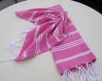 Turkishtowel-NEW Set of 2-Hand woven Peshkirs-Hand towels,Tea towels,Dish towels,Neck Warmers,Bath Towels-White stripes on Fuchsia
