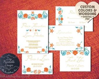 SEASHELL Rustic Beach Wedding Invitation Set Pdf DIY Printable/Order Prints 2016 Elegant Evite Invite Nautical Blue Coral Starfish Shell New
