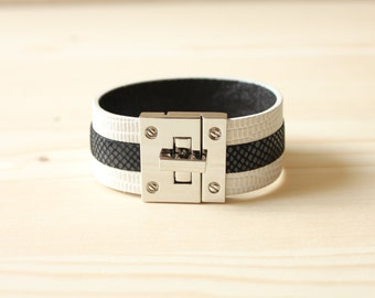 Three Lined Lizard Leather Bracelet(Ivory)