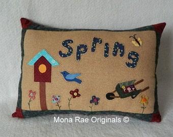 "Spring Pillow ~ Birdhouse, Flower Cart ~Original Hand Applique ~ 15"" x 20"""