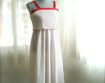 Pretty Polka Dot Sundress in White and Red, Size Small