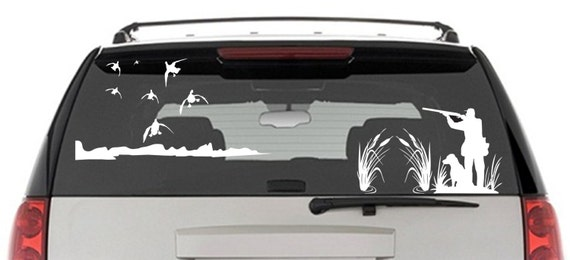 Mallard Duck Hunting Window Decal Hunter And Dog Duck - Rear window hunting decals for trucks