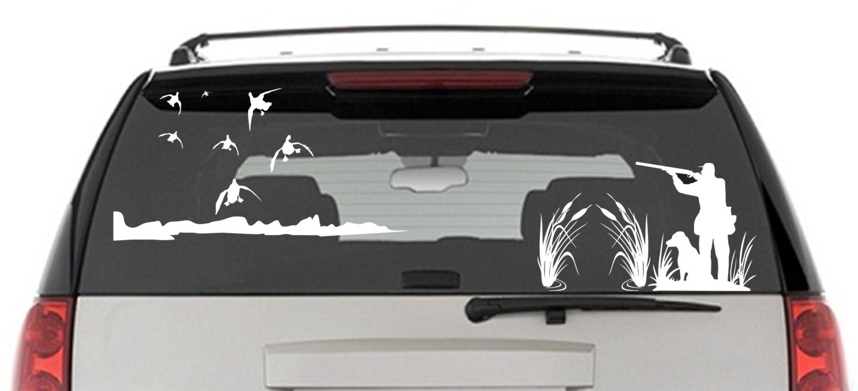 Mallard Duck Hunting Window Decal Hunter And Dog Duck - Window stickers for trucks hunting