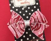 Valentine Glitter Zebra Small Pinwheel Bow