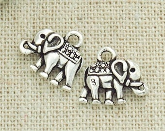 2 of 925 Sterling Silver Elephant Charms 8 x 12 mm. :th1610