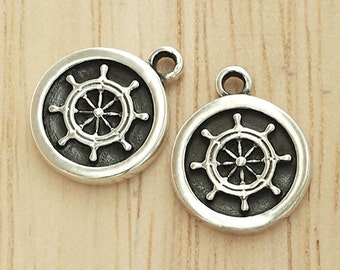 2 of 925 Sterling Silver Ship Wheel Printed Charms 11mm. :th2222