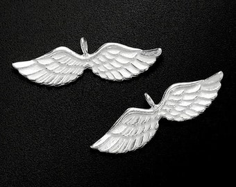 2 of 925 Sterling Silver Angel Wing Charms 7x27mm. :th1529
