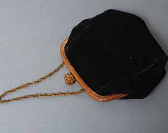 Antique miniature bag with clasp, purse from black imitation chamois leather