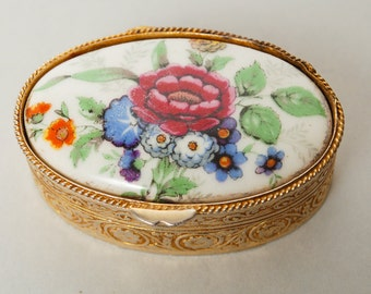 Vintage small metal case with porcelain embellishment