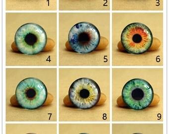 10 pcs Eye Ball Cabs Collage 0578 - Circle 8mm 10mm 12mm 14mm 16mm 18mm 20mm 25mm 30mm Photo Glass Cabochon Flat Back Beads