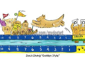 Golden Retriever Dock Diving T shirt