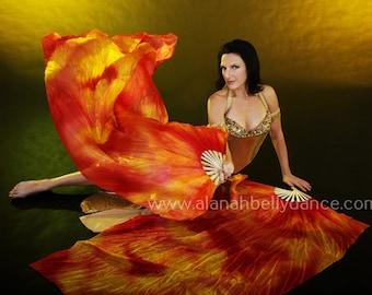 Nebula Fan Veil Set (2fans)-Wildfire (Saffron/Orange/Fire Red