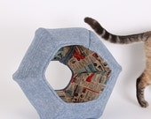Catify Your Home with the Cat Ball Bed in Denim and Vintage Comic Book Fabric