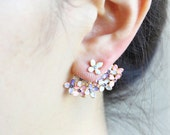 Floral Bouquet  Earrings-Pink and Violet / Front Back Earrings, ear jackets