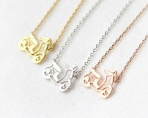 Mini Scooter Necklace / choose your color, gold, silver, pink